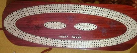 Box Inlaid in 12-3 Tracks Sliding Lid Drawer with Metal pegs Chessbazar PalmRoyal Continuous Cribbage Board