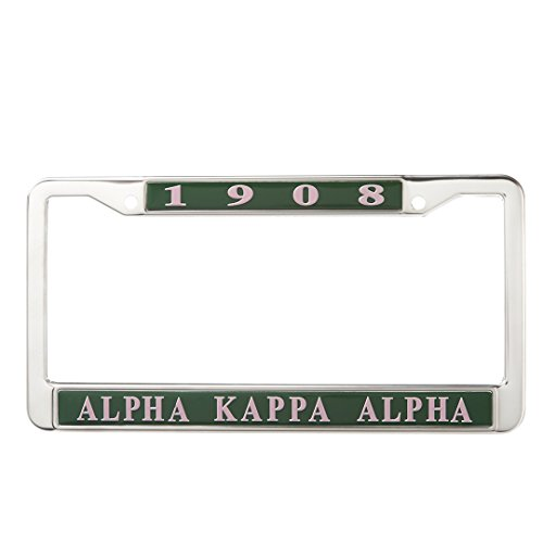 (Alpha Kappa Alpha Sorority New Metal License Plate Frame)