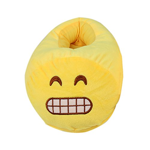Emoji Emoticon Zapatillas Cómodo Térmica Vellocino Invierno Casa Zapatos Diente