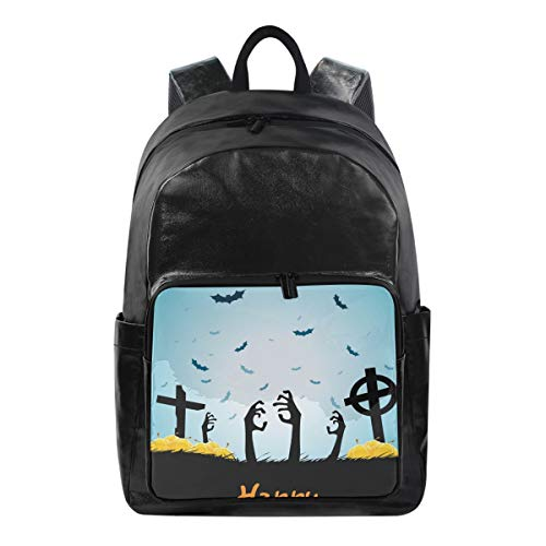 SUABO Student Backpack, Canvas School Backpack Durable Travel Laptop Backpack Halloween Zombie Book Bag Rucksack]()