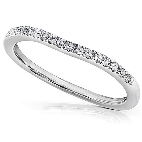 (Round Brilliant Diamond Curved Wedding Band 1/10 carat (ctw) in 14K White Gold, Size 8, White Gold)