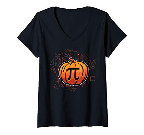 Womens Pumpkin PI Funny Math Lover/Nerd Teacher Student Halloween V-Neck T-Shirt]()