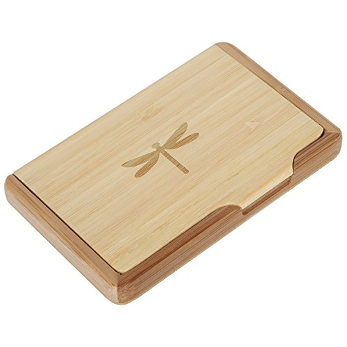 Dragonfly Bamboo Business Card Holder With Laser Engraved Design - Business Card Keeper - Holds Up To 10 Cards - Lightweight Calling Card Case -