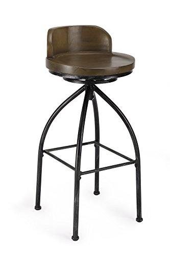 FIVEGIVEN 30 Inch Bar Stools Metal and Wood Rustic Industrial Barstool Swivel Chairs with Backs Brown (1 Piece)
