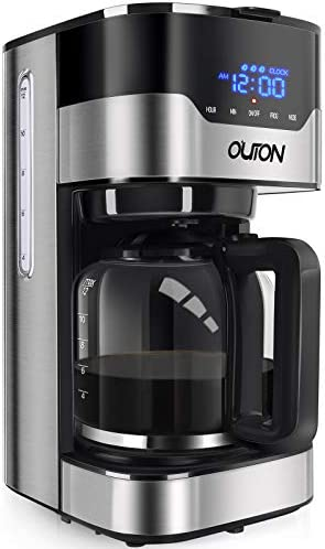 Outon Coffee Maker 12 Cup, Programmable Drip Coffee Maker, Multiple Brew Strength, Auto Shut Off, Keep Warm, Compact Coffee Machine with Glass Carafe & Reusable Coffee Filter, Black Stainless