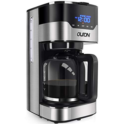 Outon Coffee Maker 10 Cup, Programmable Drip Coffee Maker, Multiple Brew Strength, Auto Shut Off, Keep Warm, Compact…