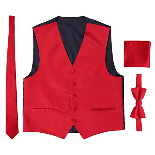 HDE Red Bow Tie, Mens Red Vest Neck