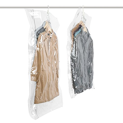 TAILI Hanging Vacuum Space Saver Bags for Clothes, Set of 2 (1 Long 53x27.6, 1 Short 41.3x27.6),Vacuum Seal Storage Bag Clear Bags for Suits, Dress or Jackets, Closet Organizer