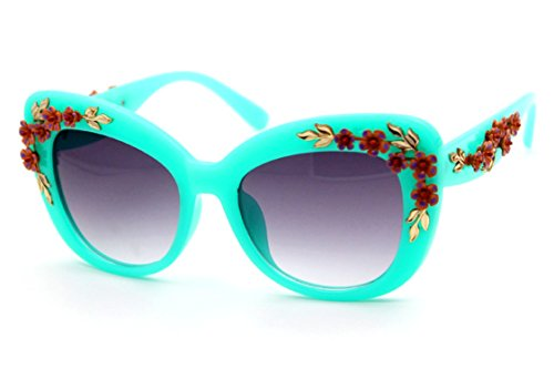 Flowertree Women's S4230B2 Plastic Floral Embellished Party Novelty Cat Eye 53mm Sunglasses - Eye Floral Cat Sunglasses
