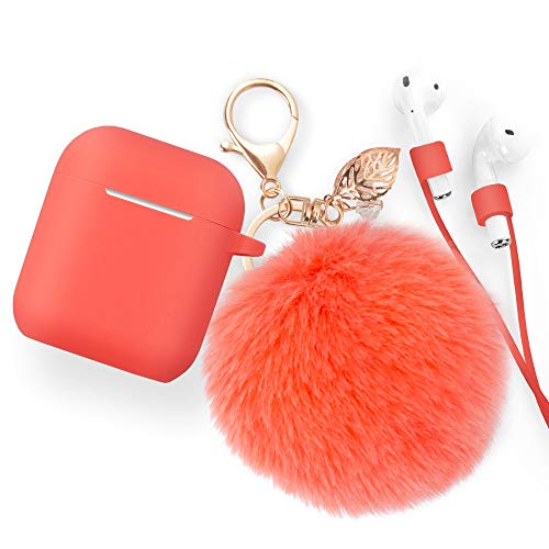 Airpods Case Keychain, BLUEWIND AirPod Charging Protective Case, for Apple Airpods 2 & 1 Charging Case, Portable Carrying Earpods Case Strap, Keychain, Soft Fluffy Ball (Living Coral)