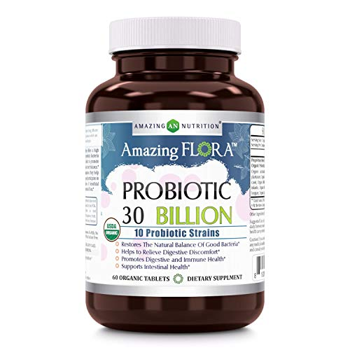 Amazing Flora - USDA Certified Organic Probiotic 30 Billion - 10 Probiotic Strains - 60 Organic Tablets - Restores The Natural Balance of Good Bacteria - Helps to Relieve Digestive - Billion Tabs 30