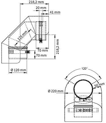 /Ø 150 mm Ofenrohr Strahlungsschutz Bogen 90/° liegend Gussgrau