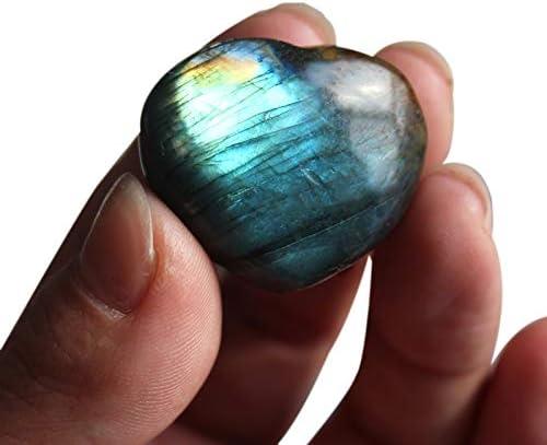 Nrpfell Grande Natural Cristal Colgante de Amor de Piedra de de Labradorita de Semi-Piedra Preciosa En Forma de Corazón Corazon del Oceano Luz de La Azul