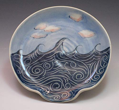 (Porcelain Spoon Rest, Handpainted in Wave and Cloud Pattern)
