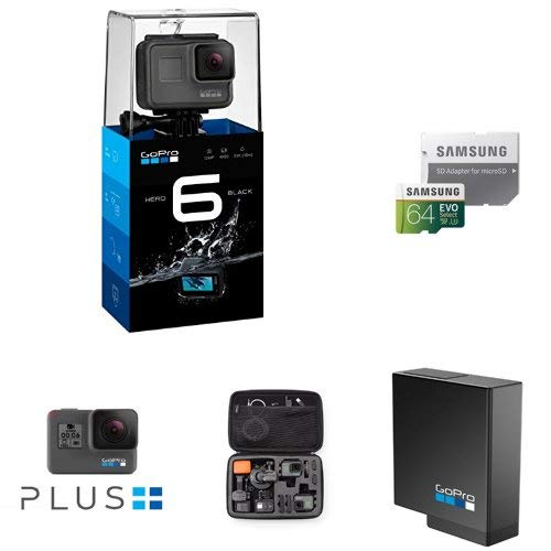 GoPro HERO6 Black 4K Action Camera, Samsung 64GB Memory Card, GoPro Rechargeable Battery, AmazonBasics Carrying Case for GoPro - Large with GoPro Plus Uncategorized