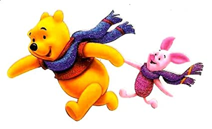7d0182f43d95 Amazon.com  Pooh Bear holding Piglets hand and running with winter ...