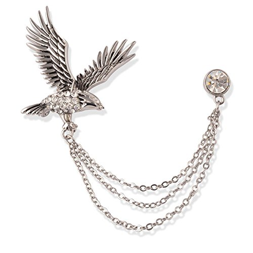 Men's Elegant Eagle Crystal Chain Brooch Stick for Suit Pin Brooch Badge for Tie Hat Scarf