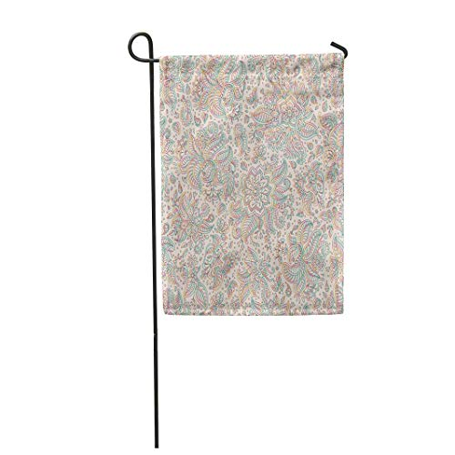 Semtomn Garden Flag 28x40 Inches Print On Two Side Polyester Abstract Floral Exotic Paisley Fantastic Flower Leaves Dark Rainbow Colored Home Yard Farm Fade Resistant Outdoor House Decor Flag ()