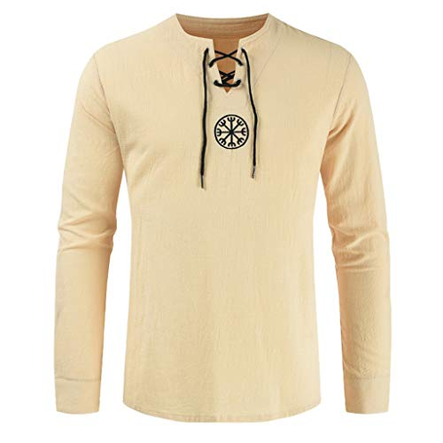 JJLIKER Men's Vintage Long Sleeve Shirt Tops Lace Up Drawsting Cotton Linen T-Shirt V-Neck Casual Blouse Beige ()