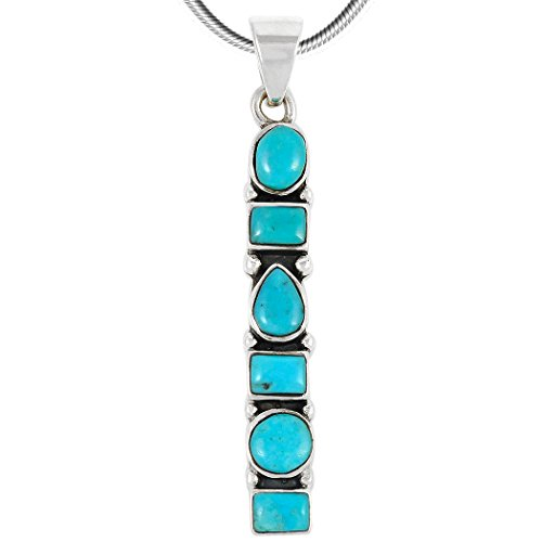 (Turquoise Pendant Necklace in Sterling Silver 925 & Genuine Turquoise (Select Style) (Geometric))