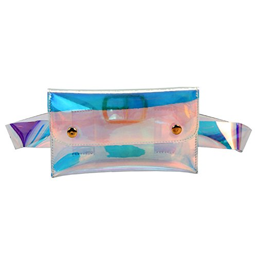 (Stylish PVC Holographic Waist Fanny Pack Belt Bag Travel Phone Purse for Women)
