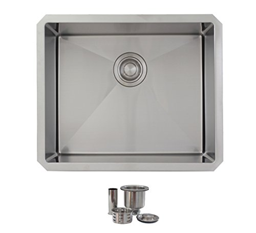 - 22 Inch Undermount Single Bowl Laundry Sink by Stylish, 18 Gauge Stainless Steel,10mm Radius Corners, Premium Strainer, S-320