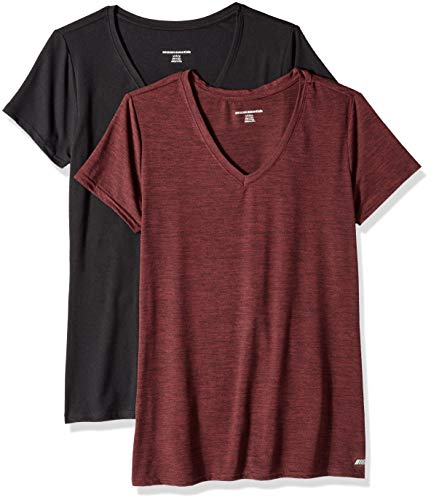 Amazon Essentials Women's 2-Pack Tech Stretch Short-Sleeve V-Neck T-Shirt, Burgundy Space dye/Black, XX-Large