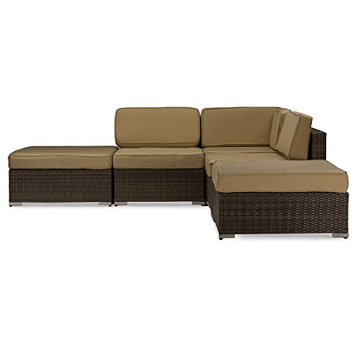 Baxton Studio Owen Lawn Sectional Sofa Set, Brown Wicker/Tan (Wholesale Interiors Glass Coffee Table)