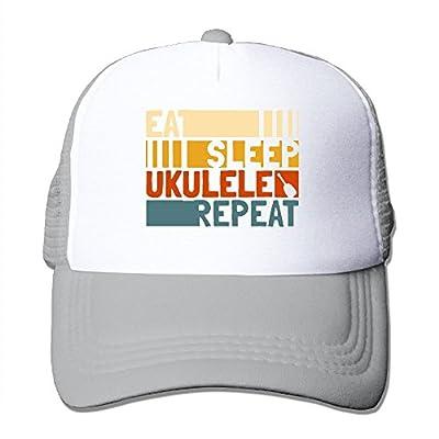 RUN_RUNNING& Eat Sleep Ukulele Repeat Unisex Adjustable Mesh Snapback Cap Hat