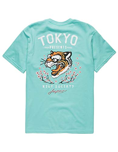 Riot Society Tiger Blossom Mint T-Shirt, Mint, X-Large by Riot Society