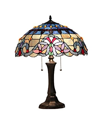 Chloe Lighting CH33381VB16-TL2 Grenville Tiffany-Style Victorian 2 Light Table Lamp 16-Inch Shade