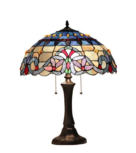 Chloe Lighting CH33381VB16-TL2  Grenville Tiffany-Style Victorian 2 Light Table Lamp 16-Inch - Tiffany Discounts