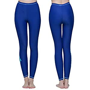 Ankle Length Ladies Modest Swim Leggings - Long Swimming Diving Surfing Snorkeling Pants Yoga Running Sports Tights Trousers - Sun Protection (Blue, Asia S - Waist:20.5'')