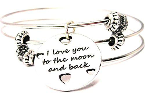 (ChubbyChicoCharms I Love You to the Moon and Back with Hearts Triple Wire Bangle Bracelet)