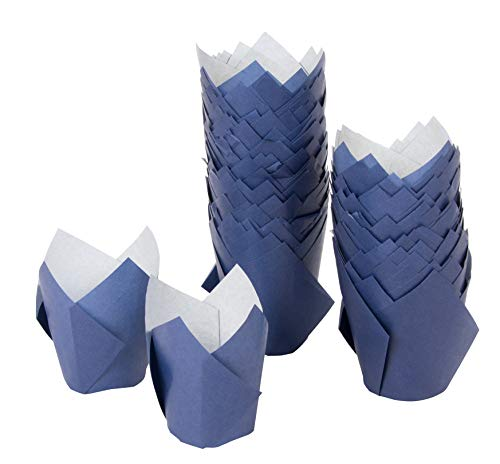 Tulip Cupcake Liners - 100-Pack Medium Baking Cups, Muffin Wrappers, Perfect for Birthday Parties, Weddings, Baby Showers, Bakeries, Catering, Restaurants, Navy Blue