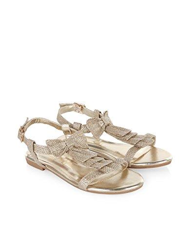 Monsoon Children Sandales ornées d'un nœud à paillettes - Fille - Chaussures 34