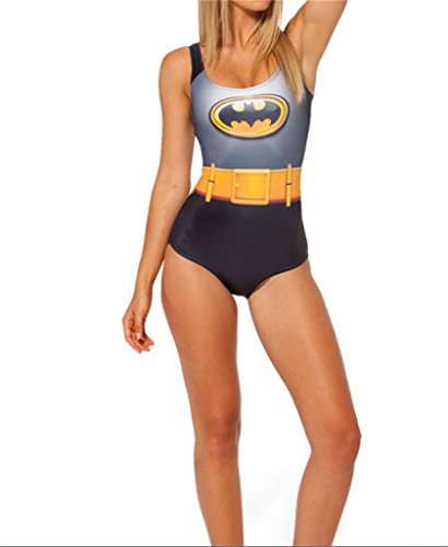 Best Swimming Costumes 2016 (R LivE Women Costume Bathing Superman Batman Suits Bikini Push-Up Swimwear One piece Gray)