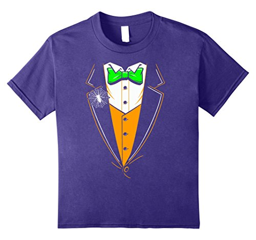 Kids Halloween Tuxedo Costume Orange Vest T-Shirt 10 Purple