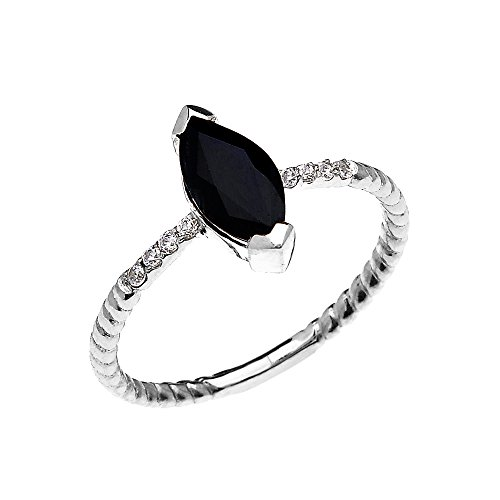 10k White Gold Dainty Solitaire Marquise Black Sapphire and Diamond Rope Design Engagement/Promise Ring (Size 10)