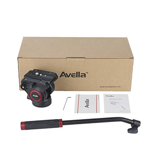 "Avella V501 Video Camera Tripod Fluid Drag Pan Head for Canon Nikon Sony Olympus Panasonic DSLR Camera,Tripods with 3/8"" and 1/4"" Mounting Screw"