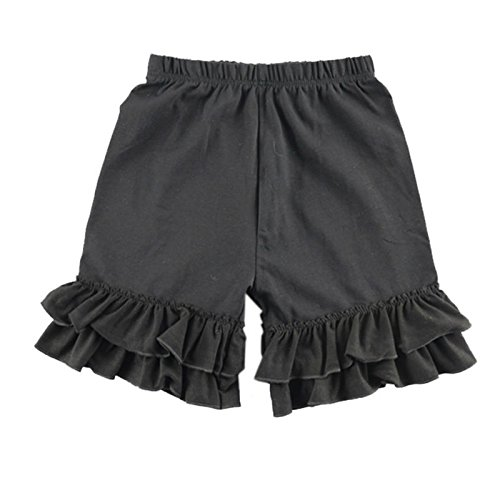 (Wennikids Baby Girl Double Ruffle Cotton Girl Shorts Small)