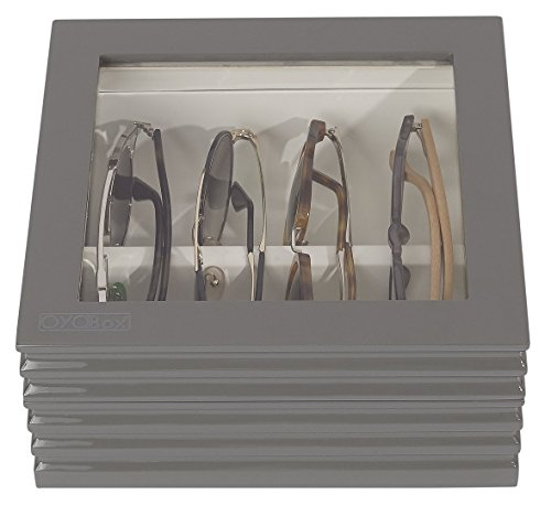 OYOBox Luxury Eyeglass Eyewear Unisex Mini Royal Gray Wave Finish Wooden Organizer Box by OYOBox