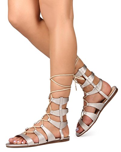 BETANI EK25 Women Metallic Open Toe Gilly Tie Wrap Gladiator Sandal - Light Gold 0yPPke3nd