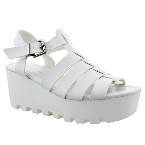 Women NEW Ankle Strap Sandal Wedge Created Sole High Heel Peep Toe Platform Shoe Trends SNJ Shoes White bbm52d