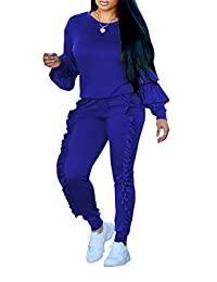 Subtle Flavor Women 2 Pieces Outfits Puff Sleeve Top and Long Flounced Pants Sweatsuits Set Tracksuits