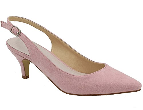 Greatonu Womens Pink Leather Insole Pointy Toe Slingback Pump Size 5 ()