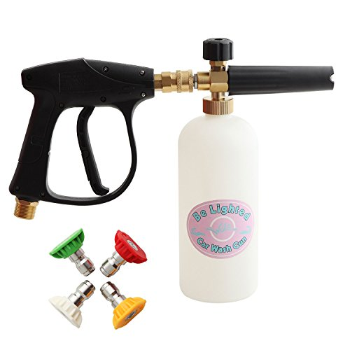 Be Lighted 3000 PSI High Pressure Foam Wash Gun, W/1L Snow Foam Lance Bottle, Water Foam Cleaner for Car,With 4 Nozzle Tips