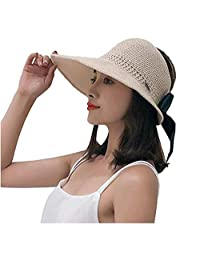 Jiuhexu Women Summer Straw Headless Roll Up Foldable Sun Hat Visor Cap