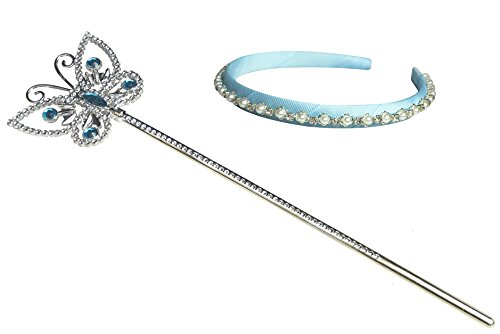 Kuzhi Frozen Elsa Crown Tiara and Wand Set - Silver Heart Jewel (Cinderella Butterfly)