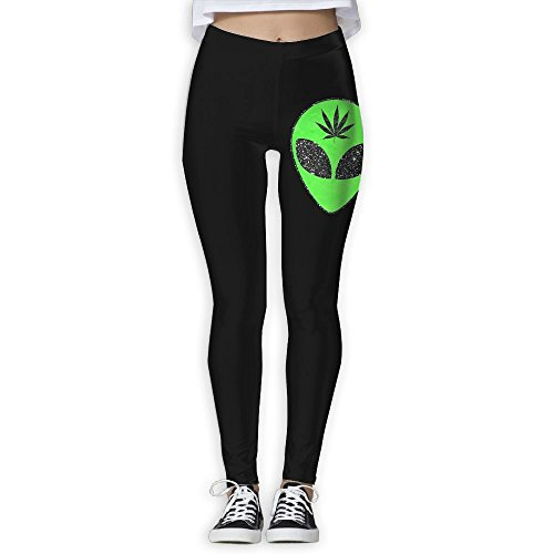 NO2XG Alien Head Leaf Cannabis Weed Women's Full-Length Yoga Leggings